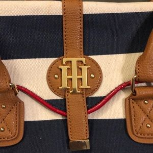 Tommy purse blue and white stripe w/ red and brown